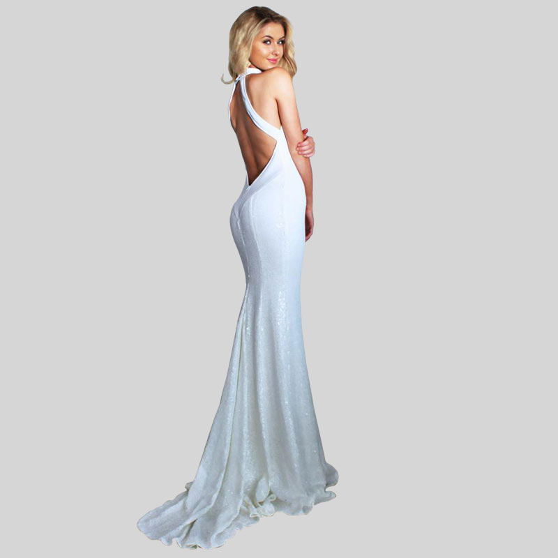 white sleeveless Party   Dress   Mermaid Sexy Off Shoulder Hang a neck   evening     dresses   Women Party Gown abiye gece elbisesi gown