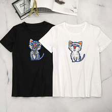 Women High quality sweet cat embroidered T shirts New 2019 summer casual Tops Tee A169