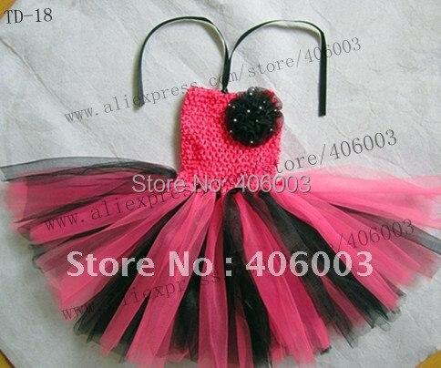 Вязаные крючком платья для маленьких девочек ярко-розовые и черные 6*6 дюймов