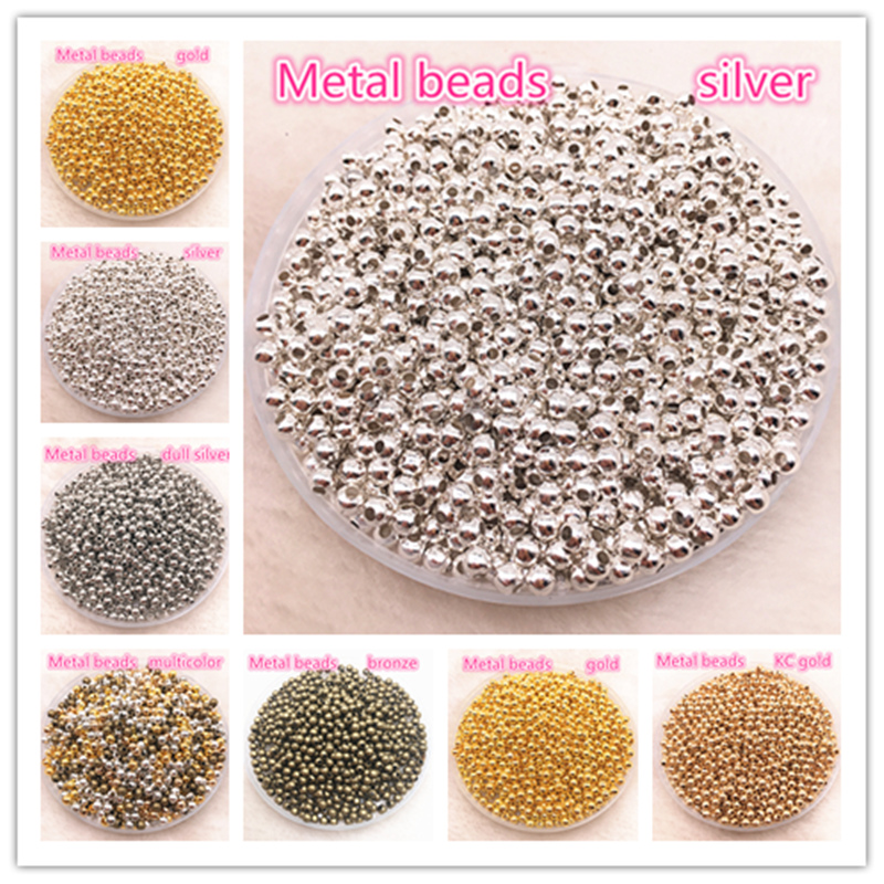 Spacer-Beads Findings Jewelry Smooth-Ball Bronze/silver-Tone Metal for 3mm 4mm Diy