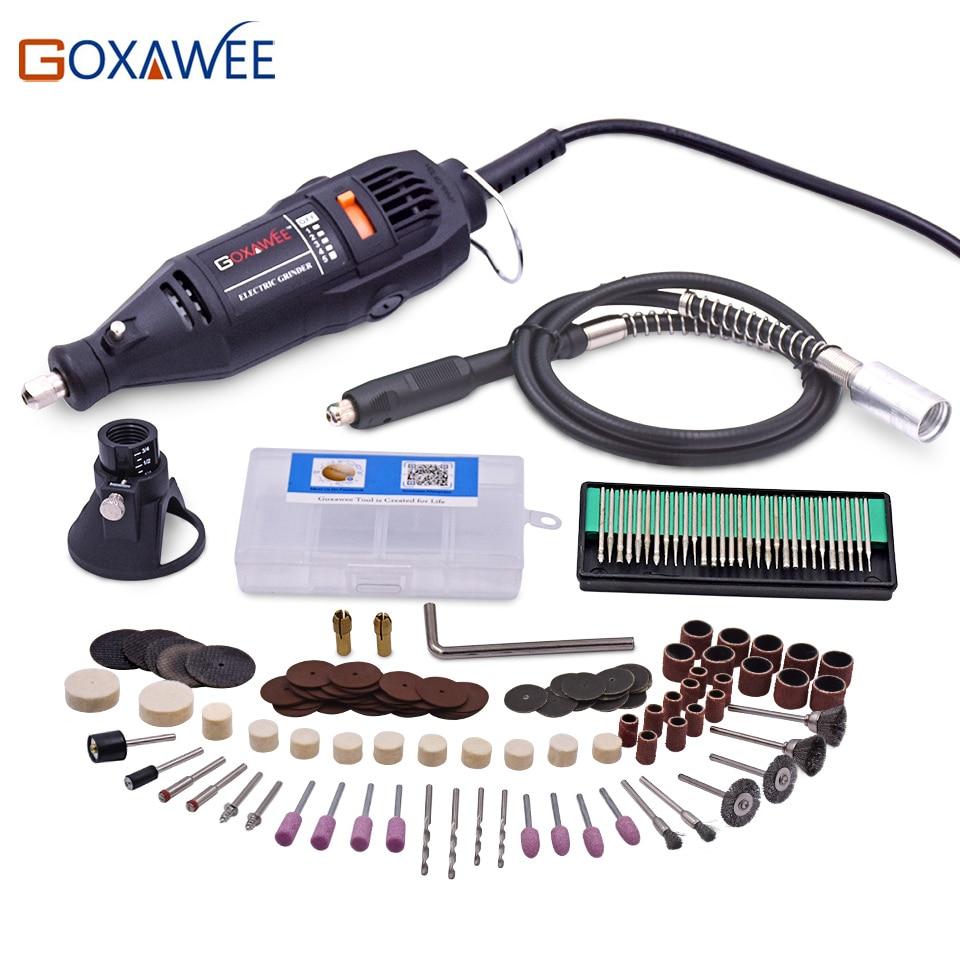 GOXAWEE 220 V Ferramentas Elétricas Mini Broca com eixo Flexível 160 pcs Acessórios Para Ferramentas Dremel Rotary Ferramentas de Perfuração 3000 4000