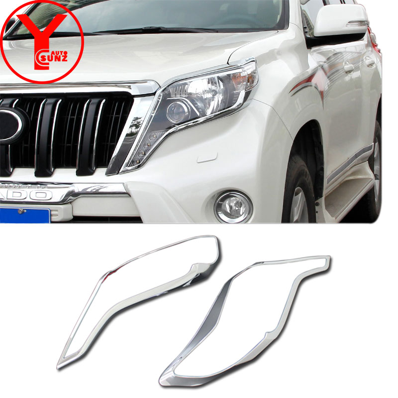 2014-2017 ABS chrome head light cover For <font><b>Toyota</b></font> Land cruiser <font><b>Prado</b></font> 150 2015 <font><b>2016</b></font> <font><b>accessories</b></font> for topyota <font><b>prado</b></font> 150 2014 YCSUNZ image