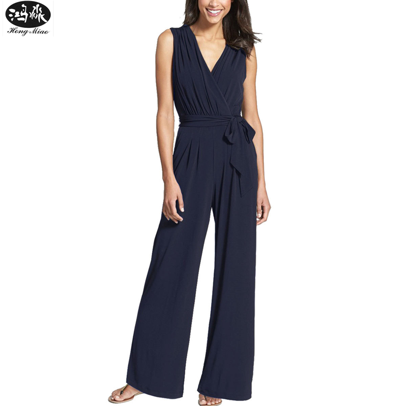 2018 New Women Wide Leg Jumpsuit Summer Sexy V-neck Sleeveless Jumpsuit For Women Fashion Casual Long Pants Jumpsuit Black