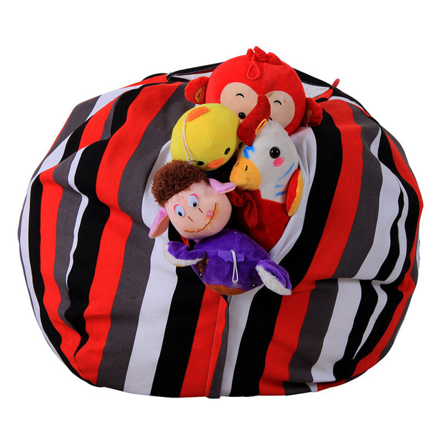 Storage Bag Stripe Fabric Animal Plush Toy Storage Bean Bag Soft Cotton  Pouch Kids Gift Drop