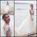 2017 Lace Cap Sleeves with Crystal Beadings Beach Chiffon Bohemian Wedding Gown Boho Backless Anna Campbell Bridal Wedding Dress