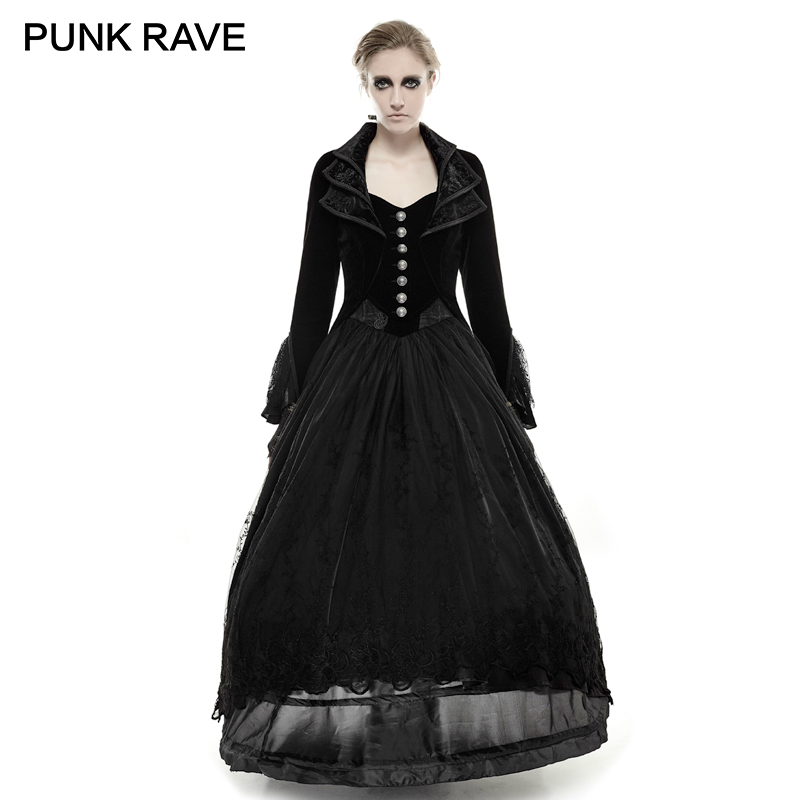 afcb52ad4988c PUNK RAVE Gothic Tail Lace Black Vintage Long Coats Woman Velvet Jacquard  Full Sleeve Cascade Collar Jacket Halloween Party-in Wool   Blends from  Women s ...