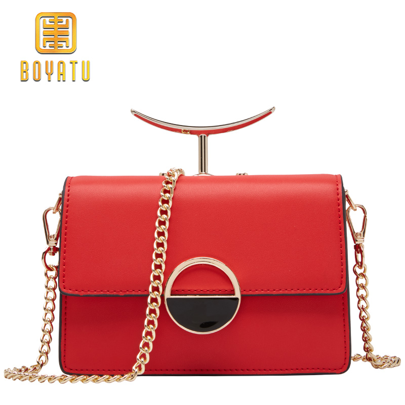 Leather Shoulder Bag Women Fashion Message Bag For girl Design Crossbody Bag Female Metal Chain Famous Brand 2018 New цена 2017