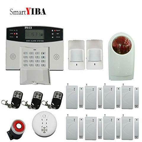 SmartYIBA GSM Burglar Security Alarm System Remote Control Home Security Smoke Detector Loudly Strobe Siren Alarm Kits SMS Alarm
