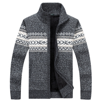 2017 New Men Sweaters Casual Wool Warm Thick Autumn Winter Cardigan Stand Collar Cotton Material Zipper