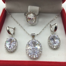 925 Silver plated Necklace Pendant Earrings Ring Size 6/7/8/9 Clear White Zircon Rhinestone Jewelry Sets For Women Free shipping