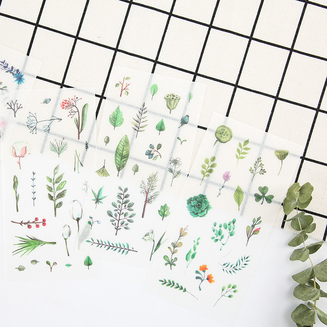 6Sheets/Set Summer Leaves Plants Creative Decoration Scrapbooking Stickers Transparent PVC Stationery Planner Stickers 2