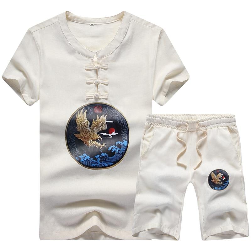 MYAZHOU Summer Casual Comfort Short Sleeved Men's Sets , Fashion Patch Printing White Plus Size Linen Set Men Breathable S 5XL