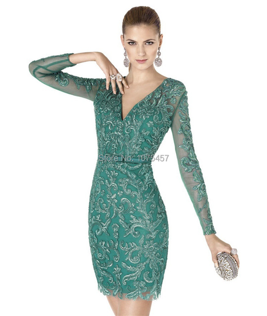 Latest Design Long Sleeve Cocktail Dress 2015 V Neck Applique Mint ...