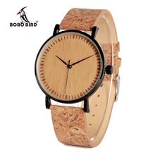 BOBO BIRD V E19 Mens Bamboo Wristwatch Stainless Steel Case Bamboo Dial Quartz Watch Natural Cork Band orologi donna