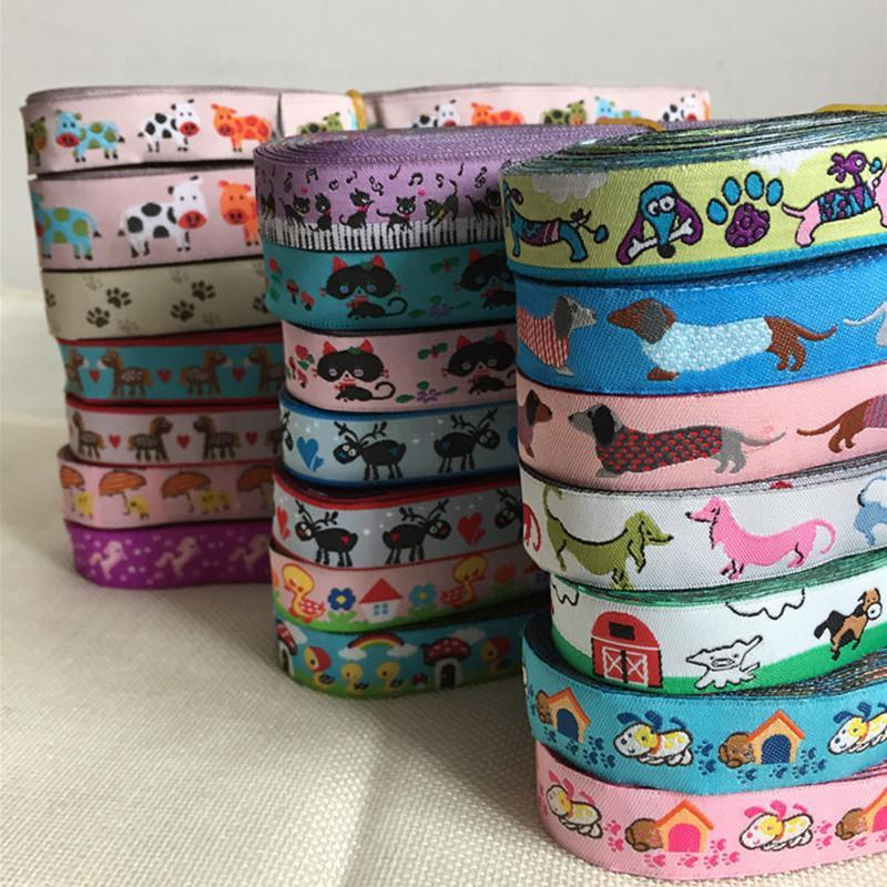 24 Different Colors Cow Duckling Wholesale 5/8 '(16 Mmx5yards) Polyester Woven Jacquard Ribbon With Dachshund Dog For Dog Collar
