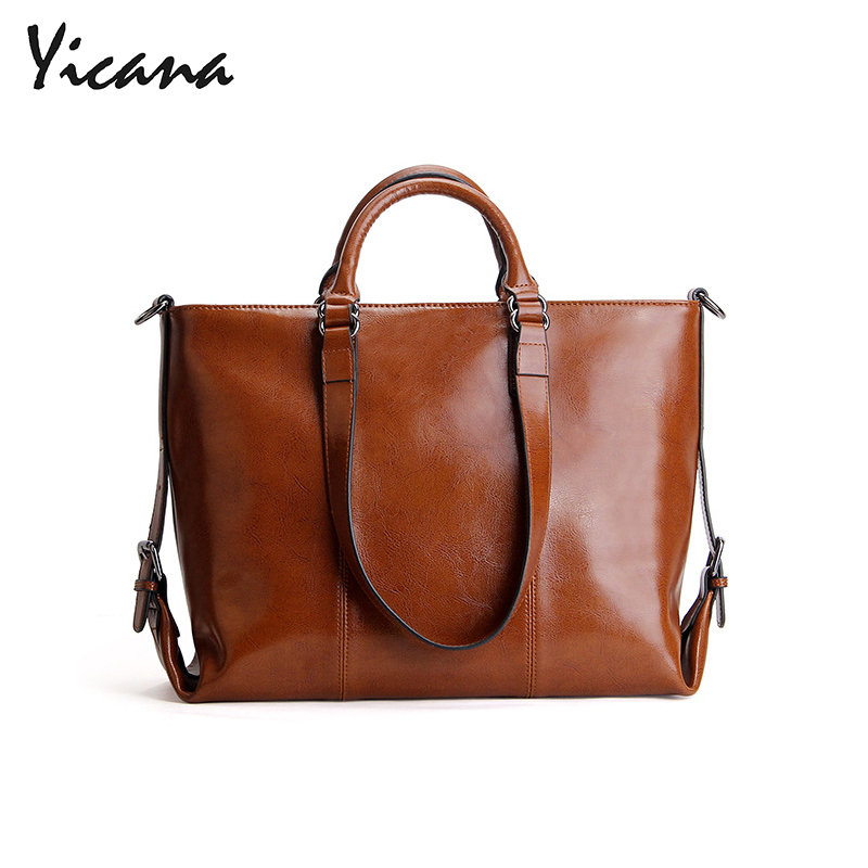 Yicana 2018 New Style Cow Leather Woman Handbag Oil Wax Concise Ladie OL Commute Hand Bill Of Shoulder Span Will Bag lkx 2018 new pattern genuine leather woman package wax oil cowhide fashion hundred take the hand bill of lading shoulder satchel