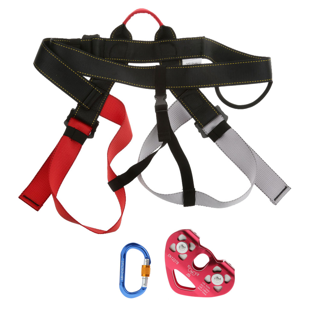 Rock Climbing Safety Harness Rope Pulley Screw Locking Carabiner Equipment for Outdoor Mountaineering Camping Accessories new outdoor climbing climb mountain rope safety waist belt protection equipment workplace safety harness