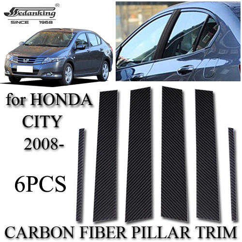 Awesome Auto Accessories For HONDA CITY 2008  6PCS Carbon Fiber Pillar Trim  Automotive Exterior Home Design Ideas