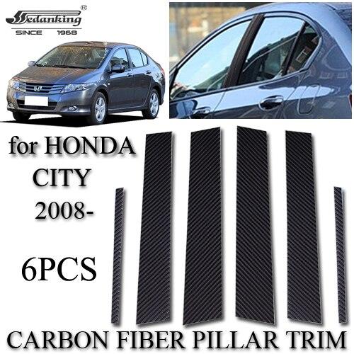 Auto Accessories For HONDA CITY 2008  6PCS Carbon Fiber Pillar Trim  Automotive Exterior