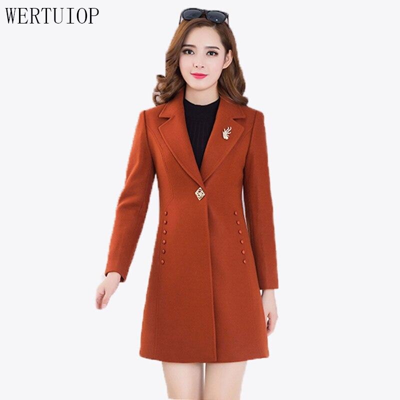 2019 New Autumn And Winter Woolen Coat Female Long Slim Thick Warm Woolen Coat Women Jacket Fashion Outerwear Womens Clothing