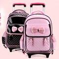 Nuevo 2014 de la PU escuela primaria a los estudiantes 1 - 3 chicas - 4-6 niños princesa mochila niños mochilas con ruedas