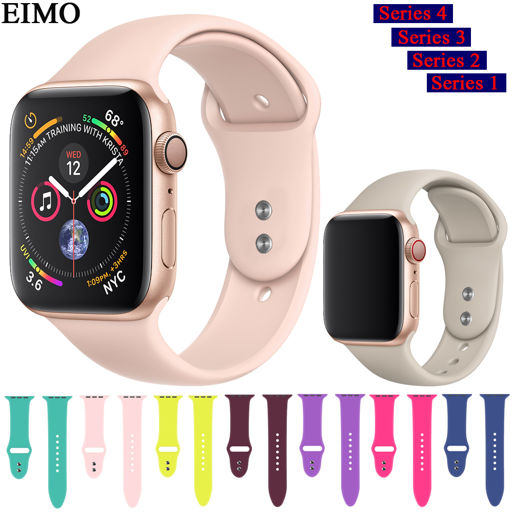 EIMO Silicone Strap for Correa Apple Watch series 4 44mm 40mm 42mm 38mm Sport Band iwatch 4 3 2 1 bracelet wrist Belt watchband for apple watch band 4 44mm 40mm leather strap correa 42mm 38mm bracelet wrist watchband iwatch series 4 3 2 1 replacement belt
