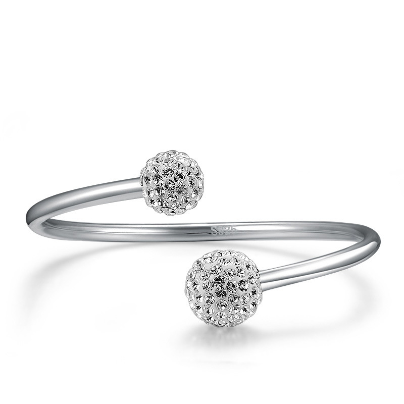 New Arrival Crystal Shiny Shambhala Ball 925 Sterling Silver Women`Open Adjustable Bracelet&Bangle Jewelry Gift Sl001