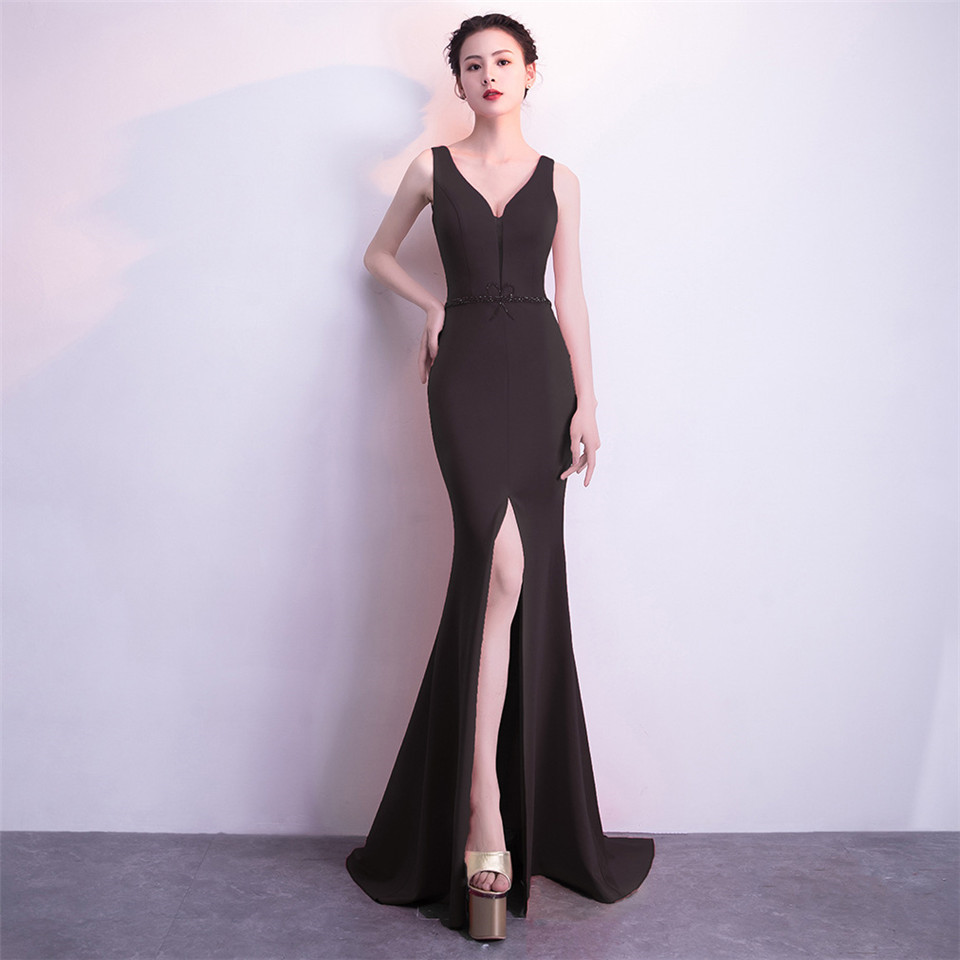 It's Yiiya Party Gowns V-neck Sleeveless Bow Mermaid Evening dress Floor-length Beading Zipper back trumpet Prom dresses C157
