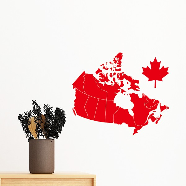 Red Maple Leaf Symbol Canada Country Map Removable Wall Sticker Art ...