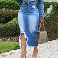 Femmes jupes taille haute lavé Denim jean jupe dames pansement fendu jupe longue Plus femmes bleu fente taille moyenne jupe décontractée