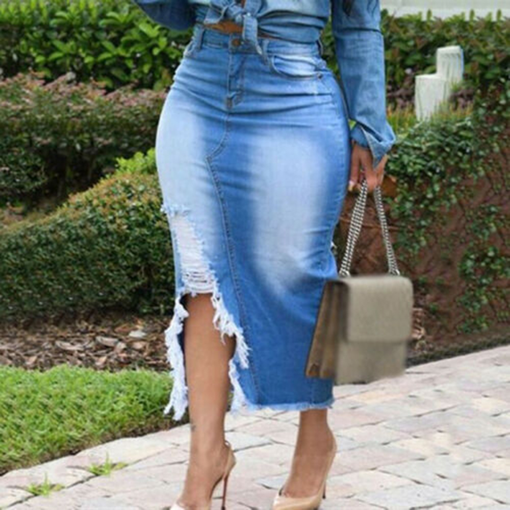 Women <font><b>Skirts</b></font> <font><b>High</b></font> <font><b>Waist</b></font> Washed <font><b>Denim</b></font> <font><b>Jeans</b></font> <font><b>Skirt</b></font> Ladies Bandage Split Long <font><b>Skirt</b></font> Plus Women Blue Slit Mid <font><b>Waist</b></font> Casual <font><b>Skirt</b></font> image
