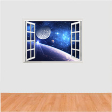 2017 New Removable 3D False Windows Science Fiction Space Planet Home Decoration Wall Stickers Living Room Wall Decals Wallpaper