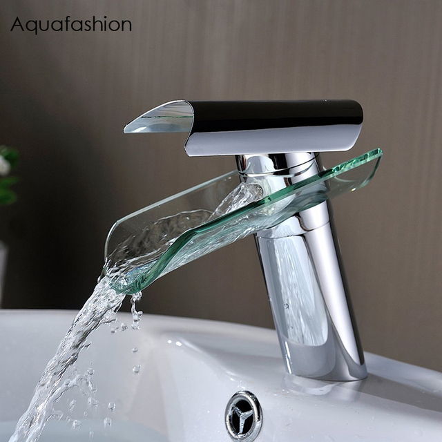 Polished Chrome Brass Bathroom Taps Hot and Cold Water Faucet Single Handle Waterfall Tap