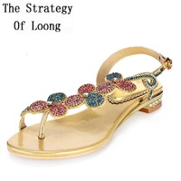 Gladiator Flats Genuine Leather Crystal Ankle Wrap Open The Toe Women Sandals Lady Summer Rhinestones Sandals