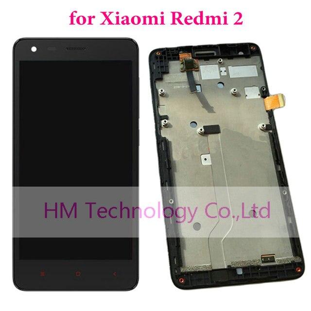 Черный Замена ЖК-ДИСПЛЕЙ + TP + Рамка для Xiaomi Redmi2 Redmi 2 ЖК-Дисплей + Сенсорный Экран Планшета Ассамблея с Рамкой + Инструменты