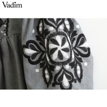 Women vintage flower embroidery long dress lantern sleeve bow tie o neck