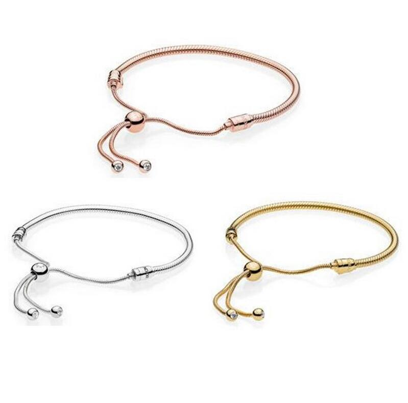 925 Sterling Silver Jewelry Adjustable telescopic Snake Chain Bracelet for Women DIY Fits European Brand Silver Charm Beads