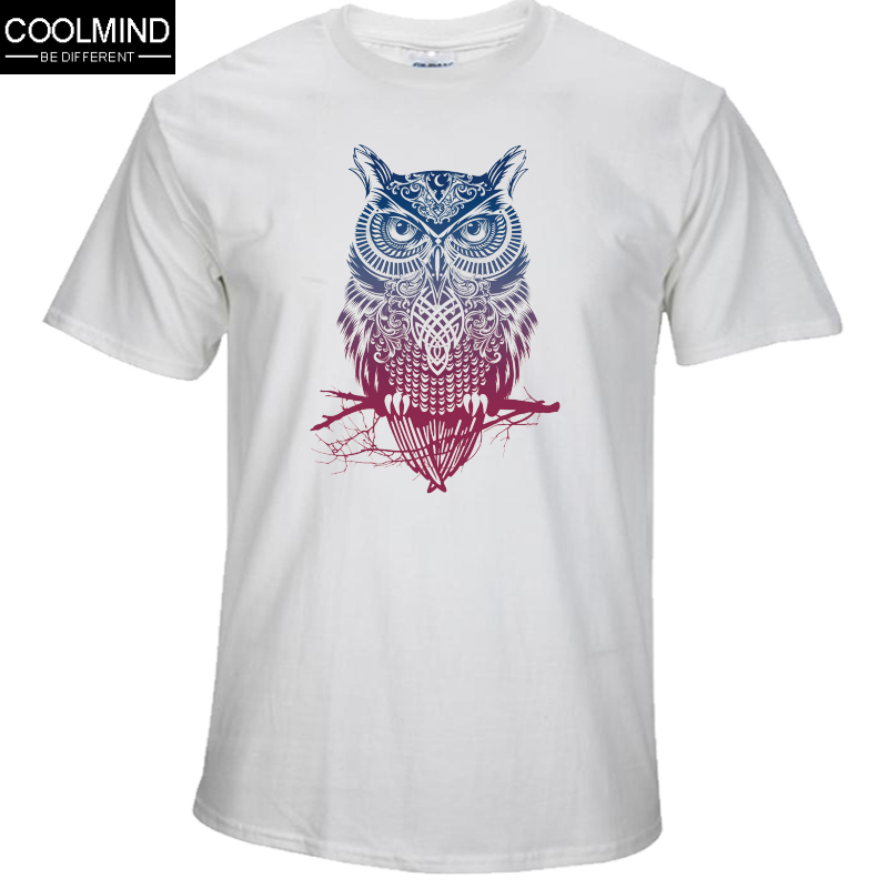 Tee Shirts Short-Sleeve COOLMIND Funny Owl-Printed Casual Cotton Men's OW0112A Tops
