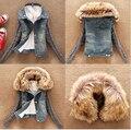 Зима женские джинсы пальто ватки короткие джинсовые куртки тонкий меховой воротник верхней одежды топы