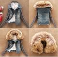 Invierno mujer vaqueros escudo lana chaqueta corta de mezclilla cuello de piel delgada abrigos Tops