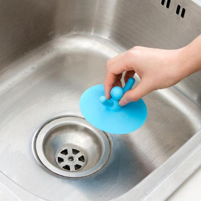 Water Plug Circle Silicon Drain Cover Plug Cute Shape Kitchen Laundry Water  Stopper Sink Bathtub Leakage