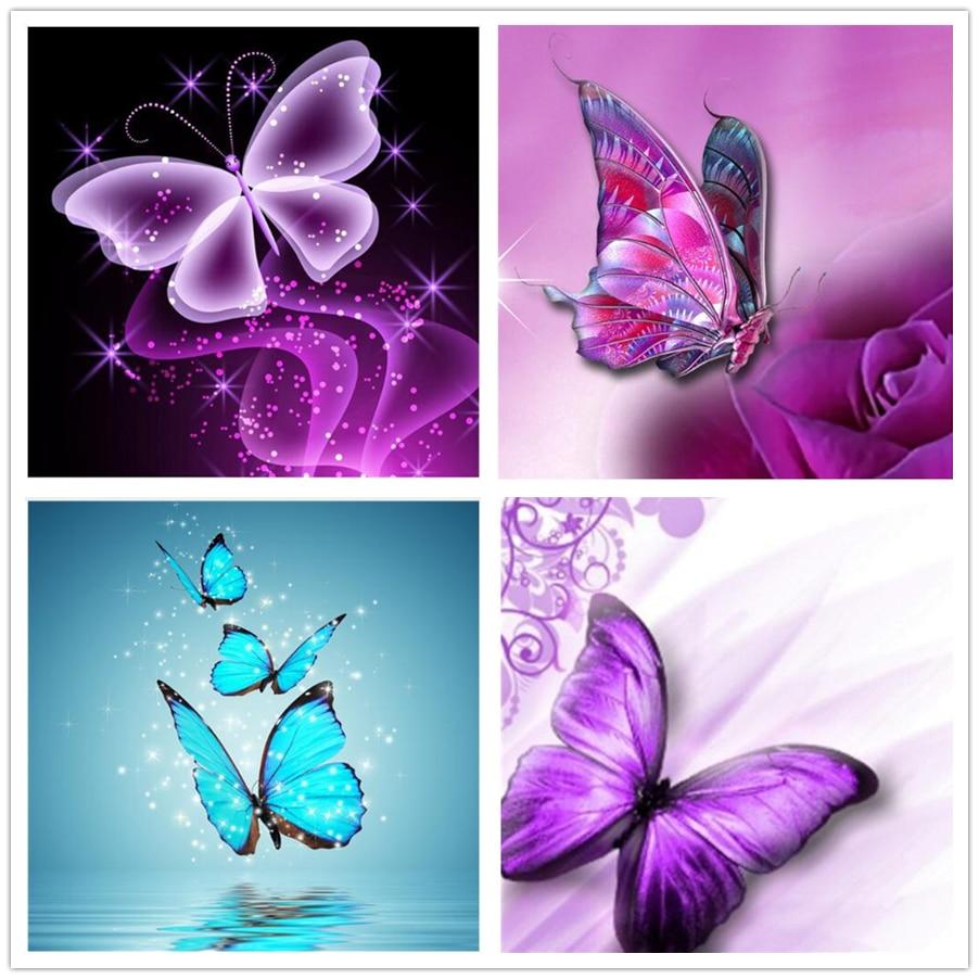 US $4 35 18% OFF|Flower butterfly Diamond painting Cross stitch Diy Diamond  Drawing 3D Diamond Mosaic Full square Diamond embroidery craft DW533-in