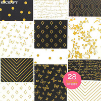 KSCRAFT Foil Craft Paper Pad Decorative Gift Wrapping Paper Book Mixed Designs Festival Gift Packing Paper Kit 28sheets/lot