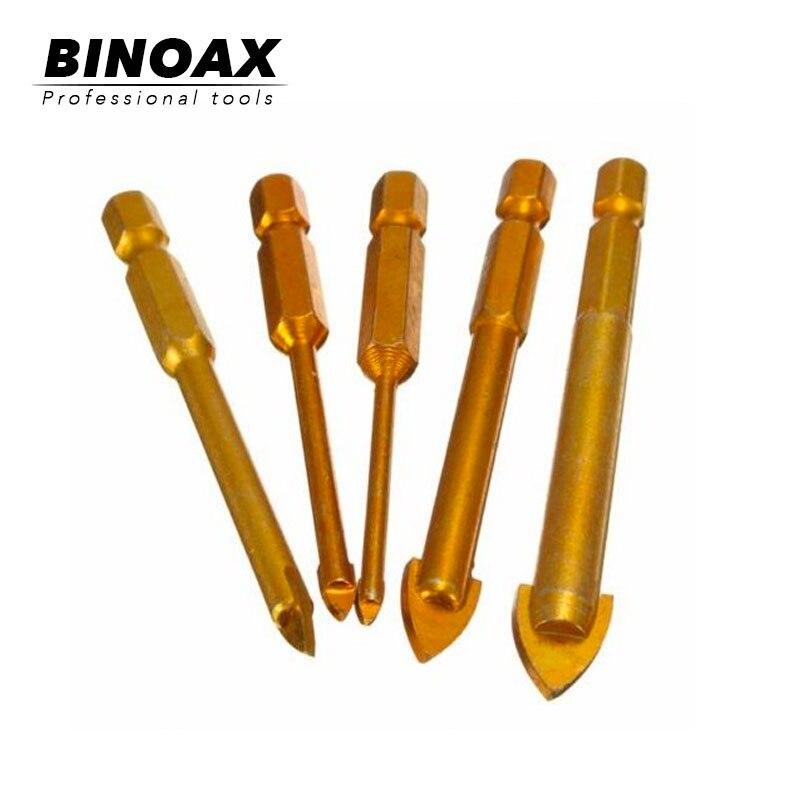 BINOAX 5Pcs/set Glass Drill Bits Set Titanium Coated Power Tools Accessories 1/4
