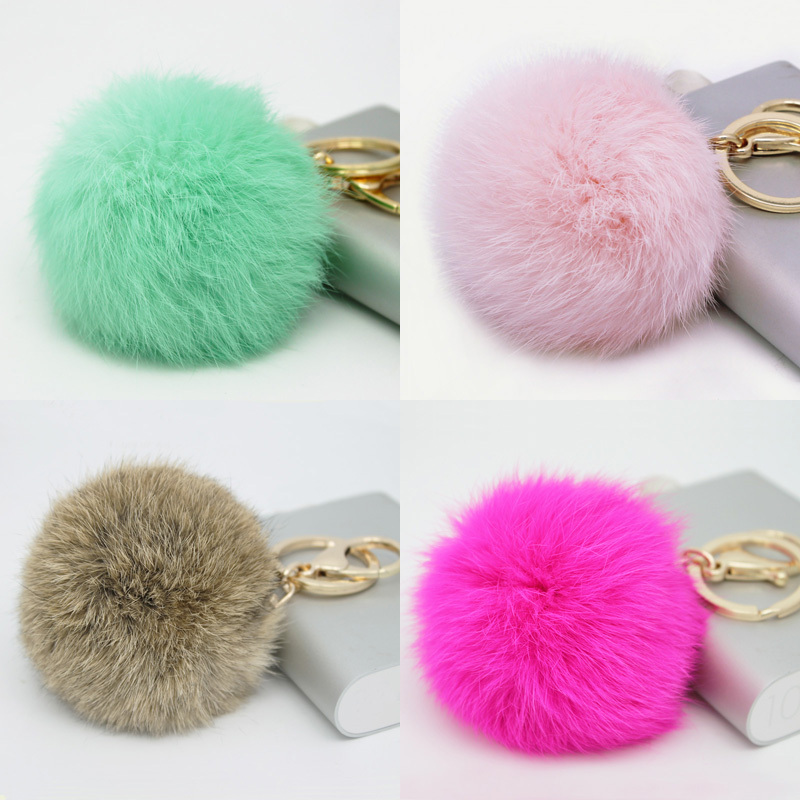 Hot Sales 8CM Super Round Metal Key Chain Real Rabbit Hair Bulb Fur Plush Pom Poms Ball Bag Car Ornaments Pendant Key Ring