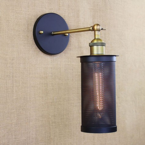 Edison Retro Loft Style Sconce Vintage Wall Light For Home Antique Industrial Wall Lamp Iron Net Lighting Lampara Pared loft style iron edison wall sconce industrial lamp wheels vintage wall light for home antique indoor lighting lampara pared