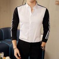 Nowe wzory z długim rękawem casual shirt men paski czarny biały patchwork męskie koszule męskie moda slim fit chemise społecznej