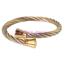 Top Quality Men Womens Silver Gold Tone 316L Stainless Steel Twisted Cable Bracelet Bangle Charm Vintage