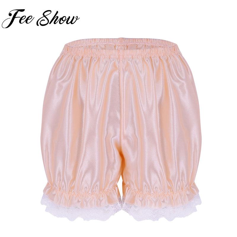 Women Female Elasticity Short Bloomers Girls Soft Lolita Lace Hem Shiny Pumpkin Bloomers Shorts Pants Cute Security Short Pants