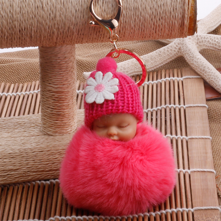 Sleeping Baby Doll Keychain Flower <font><b>Pompom</b></font> Rabbit Fur Ball <font><b>Key</b></font> Chain Fluffy Car Keyring porte clef Bag <font><b>Key</b></font> <font><b>Ring</b></font> image